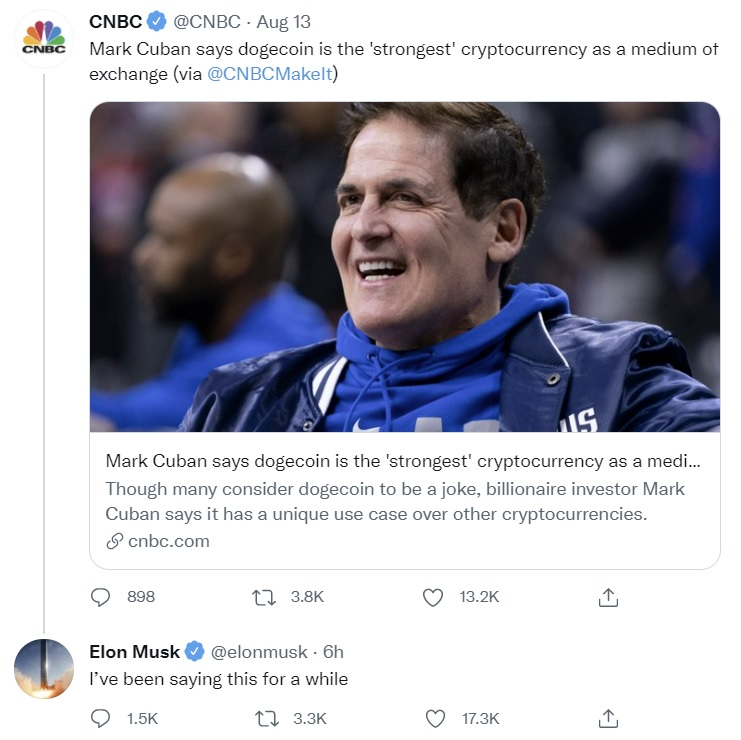 Elon Musk and Mark Cuban See Dogecoin as 'Strongest' Cryptocurrency for Payments